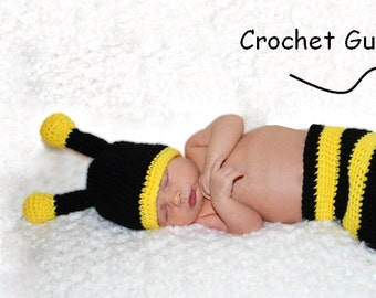 Crochet Bee Pattern - Crochet Baby Hat - Diaper Cover Pattern - Crochet Baby Photo Prop - Newborn Bumble Bee Pattern - Instant Download