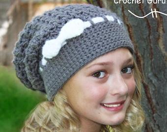 Crochet Slouchy Hat Pattern - Crochet Hat Pattern - Slouch Hat - Woman/Teen - Slouchy Beanie - Instant Download