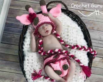 Crochet Pattern - Baby Giraffe Hat Pattern - Diaper Cover Pattern - Baby Photo Prop - Instant Download