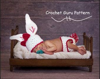 Crochet Pattern - Crochet Baby Bunny Hat - Diaper Cover Pattern - Baby Photo Prop - Instant Download