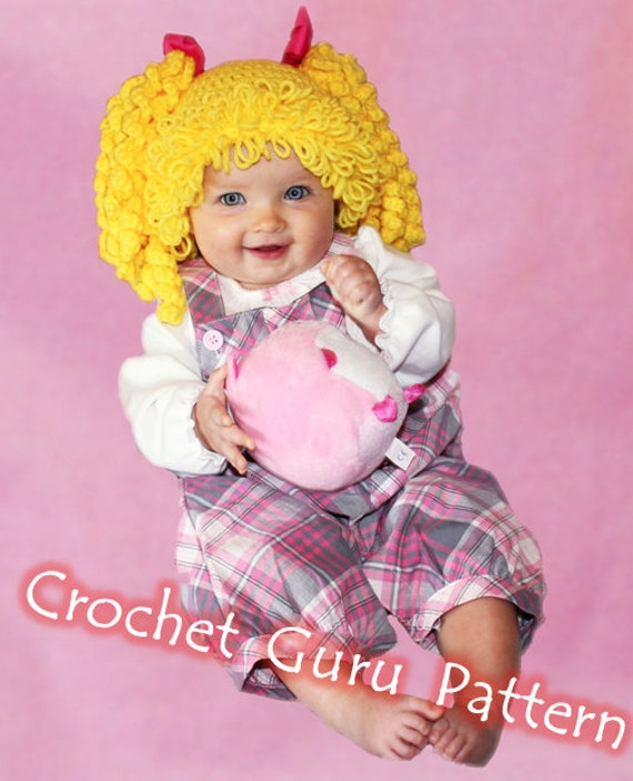 Crochet Cabbage Patch Kid Inspired Hat Pattern - 6 Sizes - Baby to ...