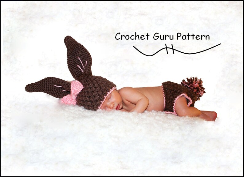 Crochet Bunny Pattern  Baby Bunny Hat  Diaper Cover Pattern image 0