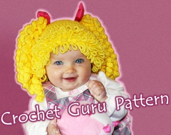 Crochet Cabbage Patch Kid Inspired Hat Pattern - 6 Sizes - Baby to Adult - Instant Download - PDF Format