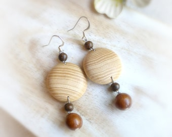 Boho disk wood earrings , Wood jewellery gift for her ,  Eco wooden earrings wife's gift , 5th anniversary
