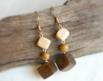 Earthy tone geometric cube earrings , Brown wooden eco jewelry ,  Natural wood jewellery , 5th Anniversary gift for wife