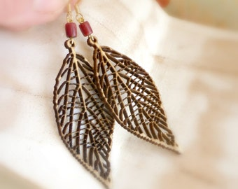 Eco wood earrings , Skeleton leaves jewelry , Neutral earrings gift for wife , Gift for girlfriend  , Beige wooden jewelry