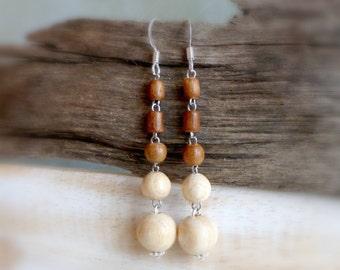 Eco long dangle wood earrings , Earthy tone wooden jewelry , Handmade casual drop wood earrings