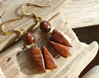 Mahogany eco wood earrings , Geometric wood jewelry , Brown dangle wooden earrings