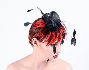 Charlotte feather and antique lace fascinator