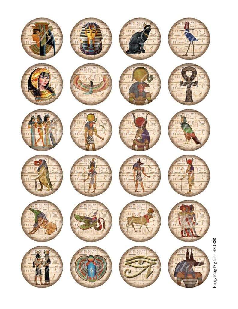 Instant Download 1.5 25 mm circles Printable Download 30 mm Ancient Egypt 1 digital collage sheet 088 HFD