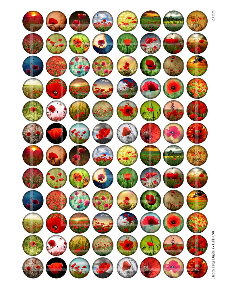 098 HFD Digital Collage Sheet 18 Printable Download Poppy field 16 14 12 Instant Download 20 mm circles
