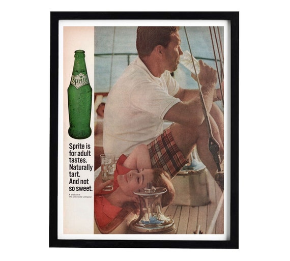 1960s Sprite Soda Advertisement, Vintage Soft Drink Ad, Couple on Boat,  10x14 Wall Art