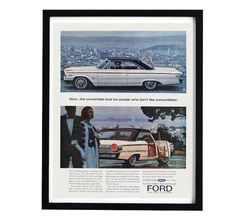 1960s Ford Convertible Ad, 10x14 Advertisement Poster for Ford Super  Torque, Retro Cars Decor, Unique Gift for Men