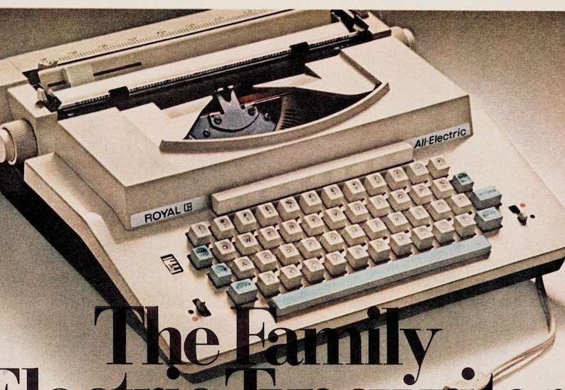1960s Typewriter Vintage Ad Back To School Retro Decor Wall Art Advertisement For Typewriter 10x14 Royal Family Electric