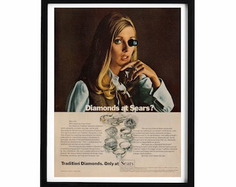 1960s Diamond Woman Ad, 10x14 Vintage Jewelry Advertisement for Sears, Blonde Woman, Women in the 60s, Quirky Female Decor