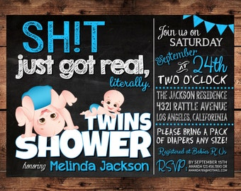 The Original Sht Just Got Real Twins Baby Shower Invitation Etsy