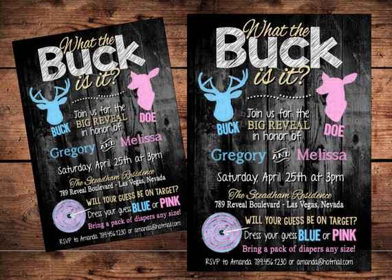 Digital Team Pink or Blue The Original What the Buck Is it Gender Reveal Invitation Buck or Doe Gender Reveal Invitation