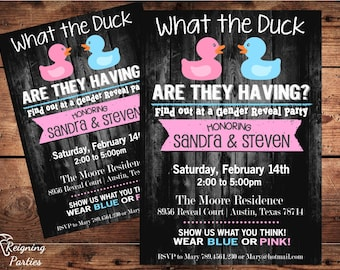 Funny Duck Gender Reveal Invitation - Rubber Duck - Team Pink or Blue - Digital