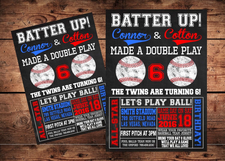 Batter Up Twins Birthday Invitation Digital File