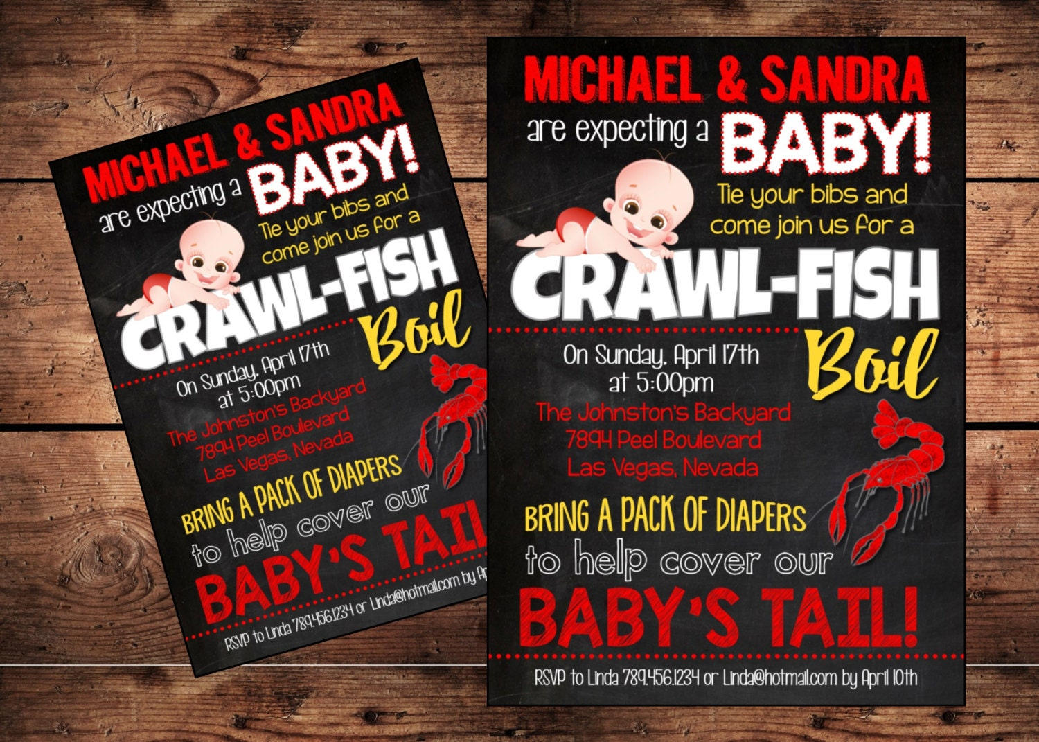 Crawfish Diaper Party Baby Shower Invitation CRAWL-fish | Etsy