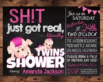 The Original Sh*t just got Real Twins Baby Shower Invitation - Funny Invitation - Twin Baby Shower Invitation - Digital - MATURE