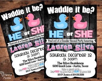 Duck Gender Reveal Invitation - Baby Shower Invitation - Digital - Waddle it be