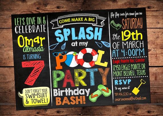 pool party birthday bash invitation splish splash birthday etsy