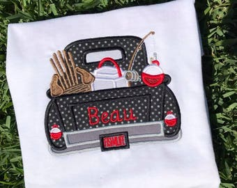 Boy's appliquéd fishing truck with embroidered name