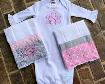 Baby girl white monogrammed gown and 2 burp cloths set (can be made in other colors)