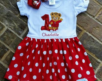 Girls Daniel Tiger appliquéd dress with embroidered name and birthday number