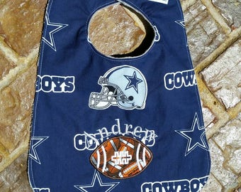 Dallas Cowboys Bib with Appliquéd Football and Embroidered Name