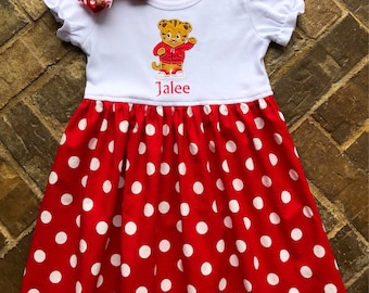 Girls Ruffled Appliquéd Daniel Tiger t-shirt Dress with Embroidered Name