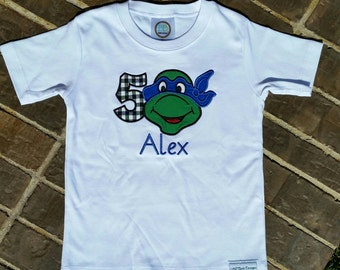 Teenage Ninja Turtles appliquéd shirt with embroidered name and birthday number (Choose your colors)