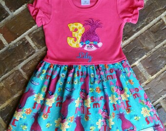 Girl's hot pink appliquéd Poppy the Troll dress with flower or number and embroidered name