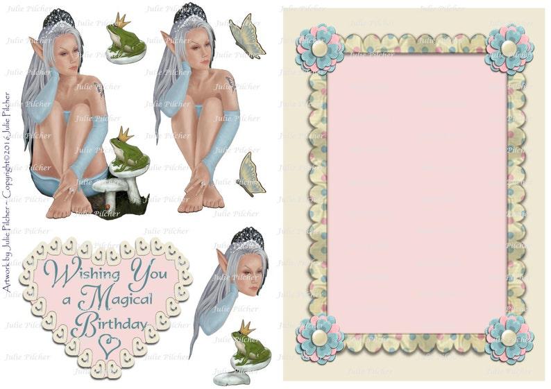 Instant Digital Download ~ A5 Mini Kit ~ Digi Card Topper ~ Fairy Princess ~ Decoupage Design Sheets ~ Card Making ~ Flower ~ papercrafts