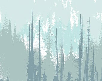 Art Gallery Fabrics Blithe Evergreen Frozen Canvas, Katarina Rocella, Canvas Fabric, 1/2 yard