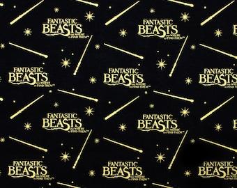 Fantastic Beast Metallic, Fabric, Licensed Fabric, Hogwart, Quilting Cotton,