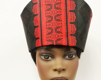 African Print Hat Kufi  Women   100% Cotton  All Sizes Free Shipping In B cbbd959bee7