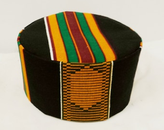 deb2061511e African Kente Print Hat Kufi  100% Cotton All Sizes  Free Shipping In Box