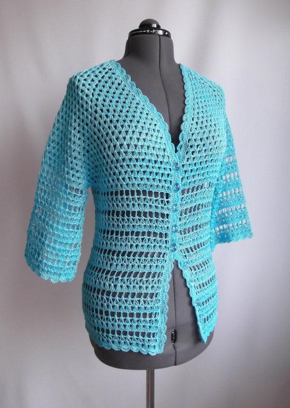 Häkeln Sie Strickjacke Frauen Jacke Blaue Strickjacke Frau Etsy