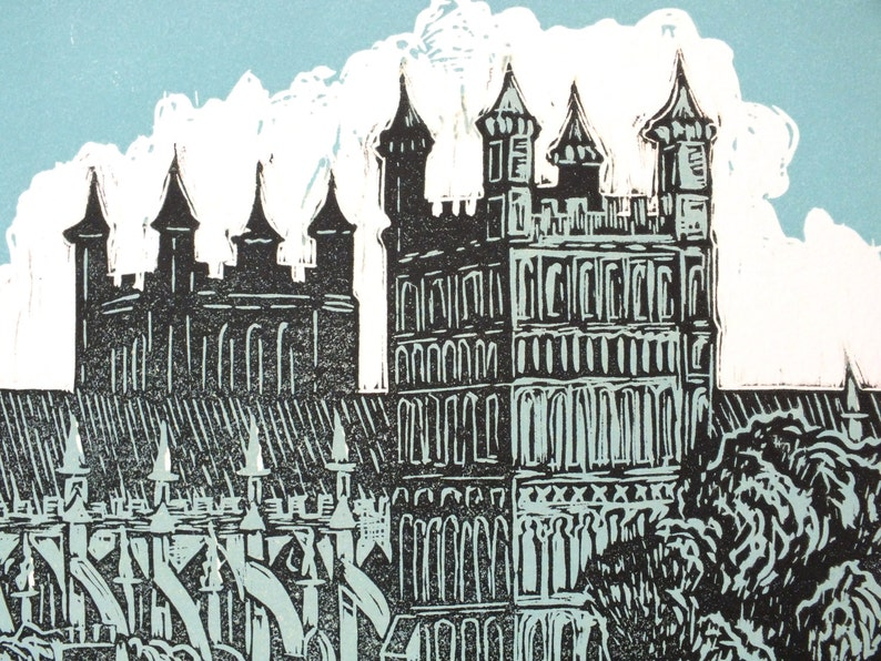 Exeter Cathedral #9 Linocut