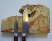 "9"" Box Elder burl w/ natural edge magnetic knife holder, knife rack, with mounting hardware handmade, exotic wood"