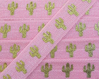 5/8 PEONY with Large Gold Cactus Fold Over Elastic