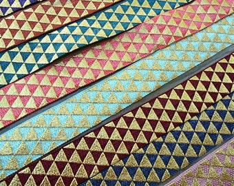 5/8 Tribal Triangle Gold Foil Fold Over Elastic