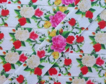 5/8 White, Pink, Yellow Floral Fold Over Elastic