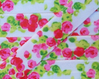 5/8 Pink and Green Watercolor Rose Fold Over Elastic