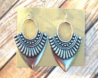 Boho earrings silver earrings tribal earrings ethnic earrings earthy earrings