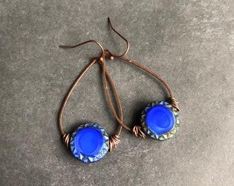 Cobalt earrings earrings beaded earrings boho earrings rustic earrings earthy earrings rustic jewelry blue earrings tribal jewelry
