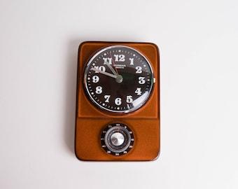 Kitchen Clock and Kitchen Timer, Dugena Electric, Ceramic Electronic Wall Clock, Vintage Retro Clock, Pottery Clock, Brown Orange Black