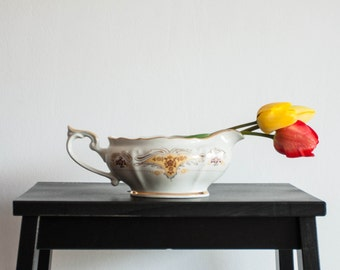 Ceramic Gravy Boat, White Floral Sauce Serving Dish, Gravy Dish Bowl, Shabby Chic, Country Cottage, Gold Yellow